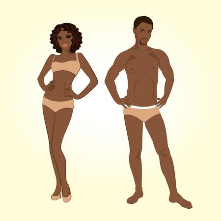 Schöne junge Mann und Frau in Dessous auf dem weißen Hintergrund
