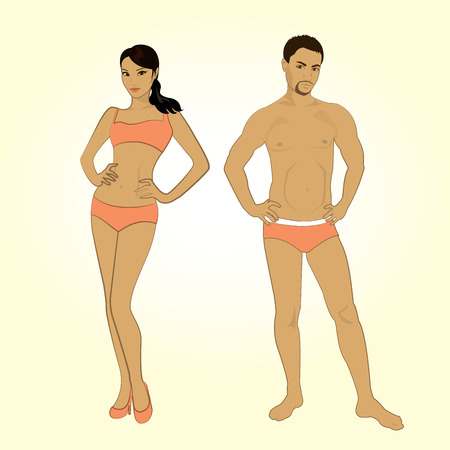 tryst: Beautiful young man and woman in lingerie on the white background Illustration
