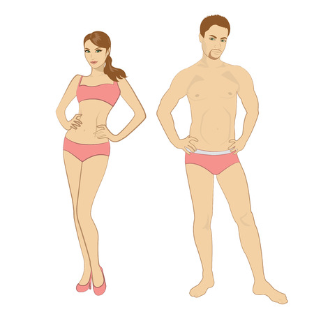boy underwear: Beautiful young man and woman in lingerie on the white background Illustration