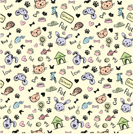 seamless pet pattern, hand drawing, vector.