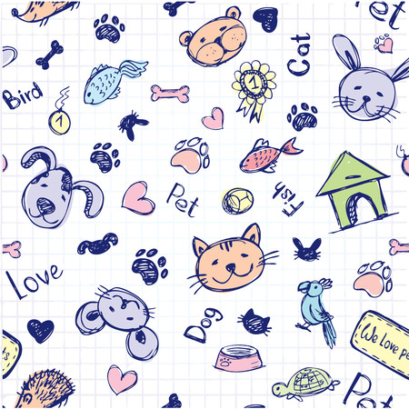 dog bone: seamless pet pattern, hand drawing, vector.