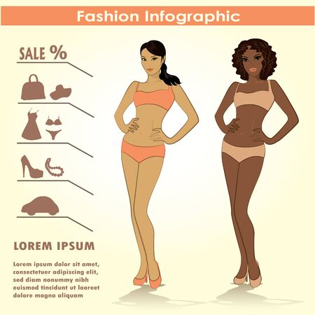 two girls: Fashion infographics, two girls, vector Illustration