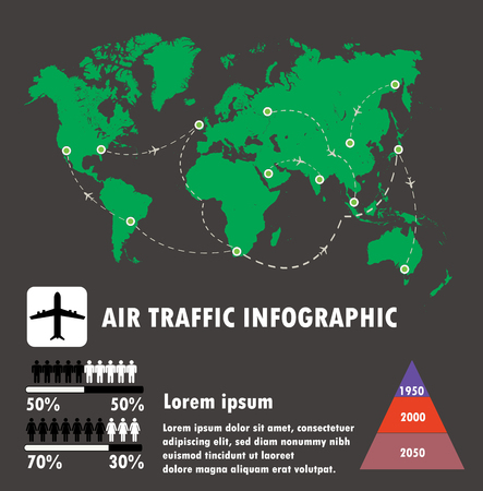 air traffic: Airline traffic on world and infographic,air traffic vector.