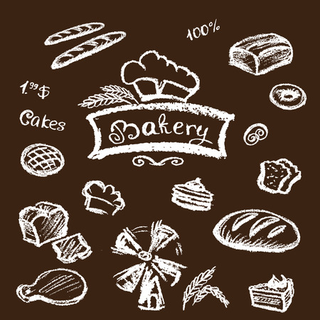 bakery set elements chalkboard, vector