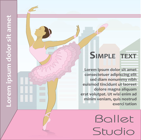 lyrical dance: Ballet Dancer against the window, vector illustration