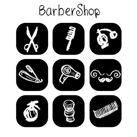 Icons barber shop elements in the style chalk, vector Vector
