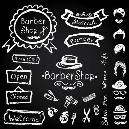 barbershop: Set of design concepts for logo, badge, label, on Barbershop hipster hairdresser elements Vector chalk illustration on a blackboard.