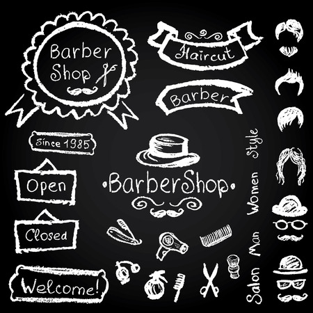 Set of design concepts for logo, badge, label, on Barbershop hipster hairdresser elements Vector chalk illustration on a blackboard.