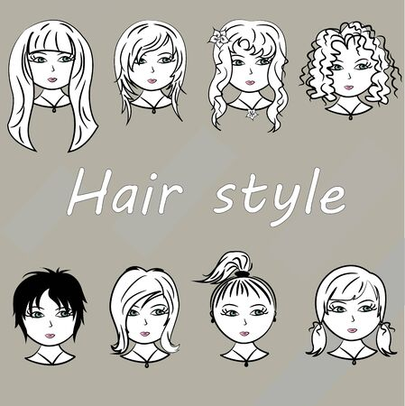 long straight hair: Set woman with beautiful hair style, vector