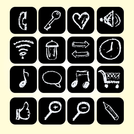 chalks: Set icons drawn chalks style, vector illustration