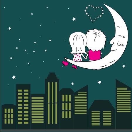 couple  amoureux: Loving couple homme et femme assis sur la lune dans la ville de nuit