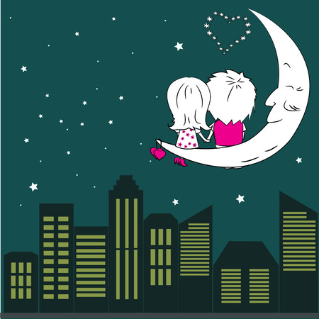 couple in love: Loving couple man and woman sitting on the moon in the night city Illustration