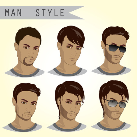 Man Hairstyles Set, vector illustration 向量圖像