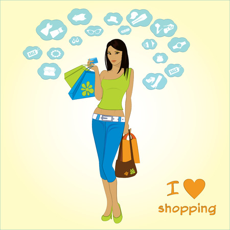 shopping girl and icons, vector Vector