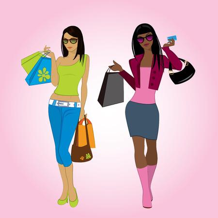 Two shopping girls, vector illustration Vector