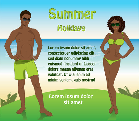 hot couple: Man in shorts and sunglasses, a woman in a swimsuit on the beach sunglasses, vector Illustration