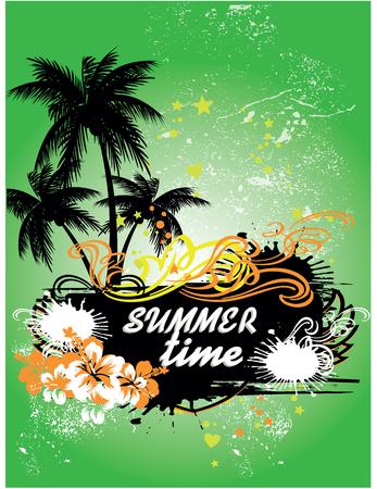 serf: Tropical background, summer time, vector Illustration