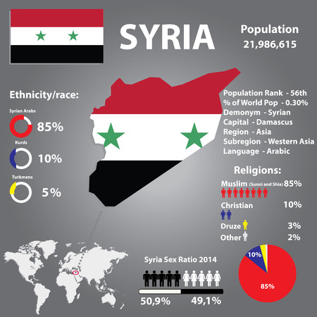 demographics: Syria Country Demographics,Religion,Population Infographics  Vector Illustration