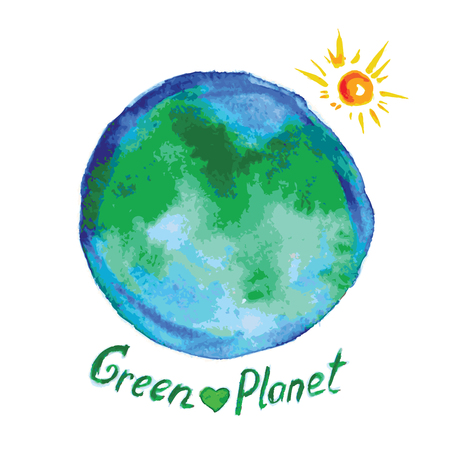 green planet: green planet, watercolor style, vector illustration Illustration