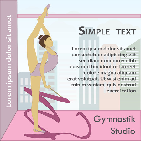 ballet slippers: Beautiful gymnast with ribbon, vector illustration Illustration