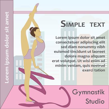 lyrical: Beautiful gymnast with ribbon, vector illustration Illustration