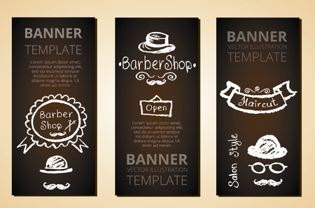 barber: Banners with barber elements, vector