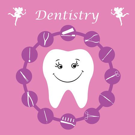 gimlet: Background, teeth, dental instruments, dental care. Illustration