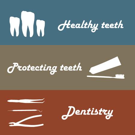 gimlet: Background or banner, teeth, dental instruments, dental care Illustration