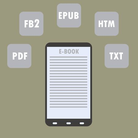 subscription: Electronic Book (e-book) Reader with Different Formats. Subscription as business model - vector illustration