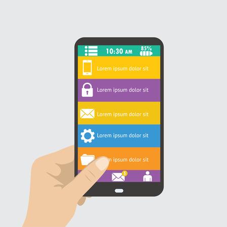 holing: Hand holing black smartphone, flat design menu concept. Eps 10 vector illustration
