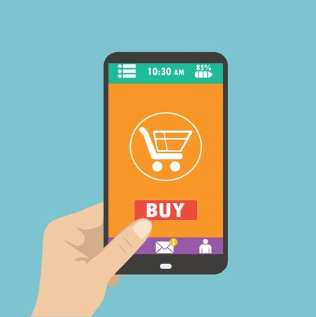 online payment: Smartphone in hand. mobile shopping button, flat design