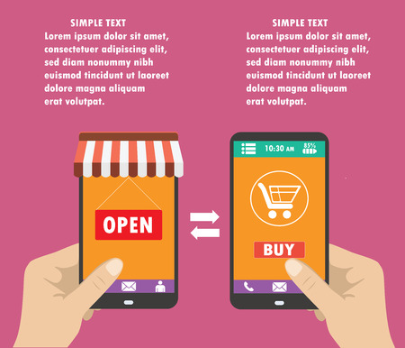 holding smart phone: One hand holds a smartphone shop, the other hand holding a smart phone with icon shopping,  e-commerce on the phone, flat design