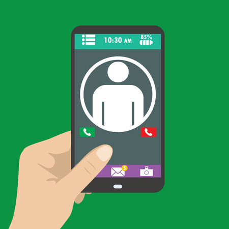 holding smart phone: Hand holding smart phone, the icon on the screen Illustration