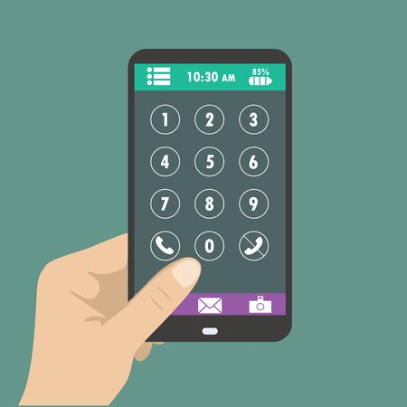 holding smart phone: Hand holding smart phone, dial buttons on the screen Illustration