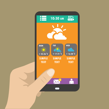 holding smart phone: Hand holding smart phone, weather icons for web and mobile. Flat design. Vector
