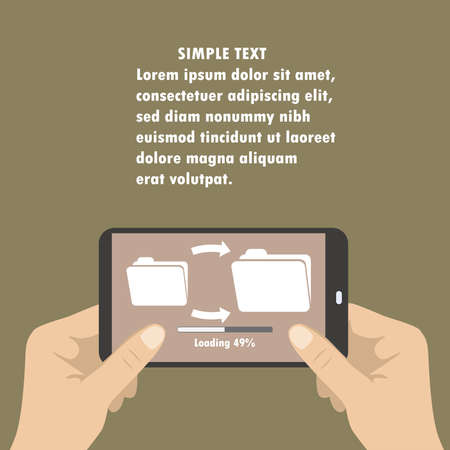 holding smart phone: Hand holding smart phone, download files from folder to folder, flat Illustration