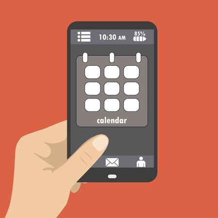 hand holding smart phone: Hand holding smart phone, the screen icon calendar, flat design Illustration