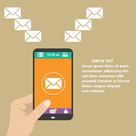mobile marketing: Vector mobile app - email marketing and promotion Illustration