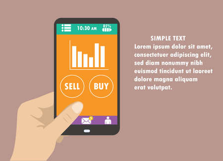 holding smart phone: Hand holding smart phone, graphics, buttons, buy and sell, flat design Illustration