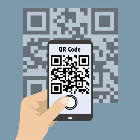 scanning: Hand Holding Mobile,Smartphone concept with a qr code scanning.