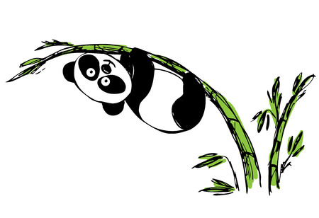 Little cute panda hanging on bamboo. vector Vector