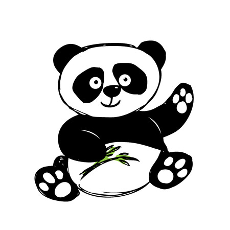 Little  cute panda  isolated on white, hand drawing, vector Иллюстрация
