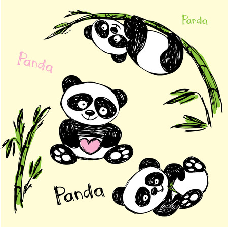 Cute Panda in different poses, hand drawing, vector