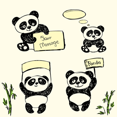 Cute Panda in various poses with signs for text, hand drawing, vector Vector