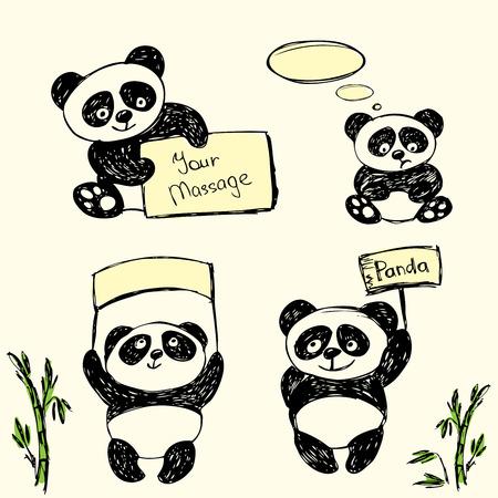oso panda: Panda linda en varias poses con signos de texto, dibujo a mano, vector