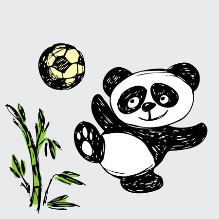 Cute Panda plays ball, hand drawing, vector