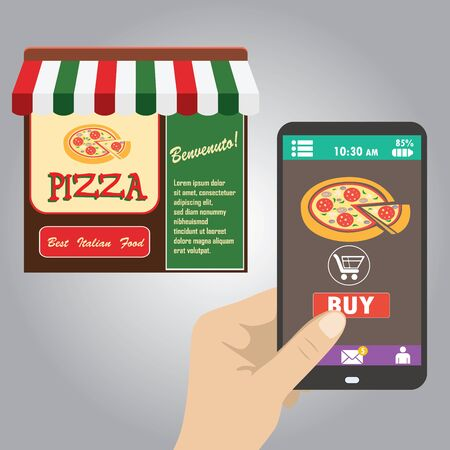 made to order: Vector flat.Hand holding smart phone, order pizza using a smartphone in pizzeria Illustration