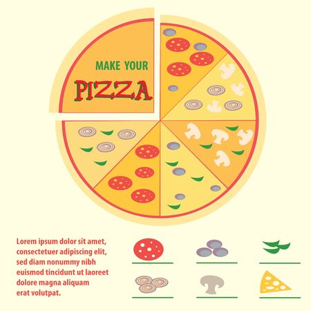 Pizza with different toppings, icons, space for text, infographics