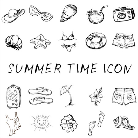 Vector set of summer travel and vacation emblems and symbols,icons, hand-drawn Illustration