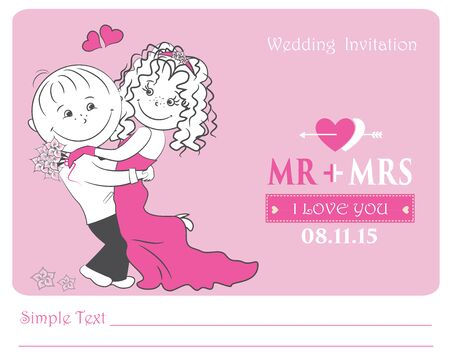 wedding couple: loving couple , wedding invitation,vector illustration. Illustration